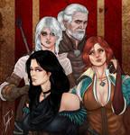 Geralt, Ciri, Yennefer and Triss