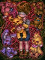 Crying child and his sad dolls / FNaF4 by Mizuki-T-A