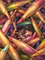 Artist in art block