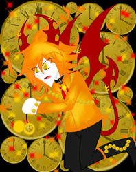 Clock *emalf fire clock bat familiar* by jacksonjekyell55