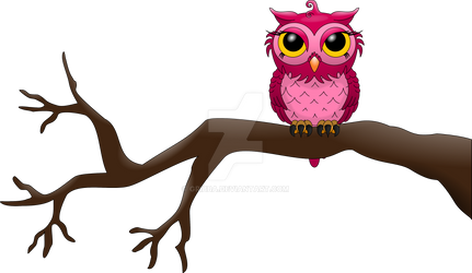 Pink owl on a tree