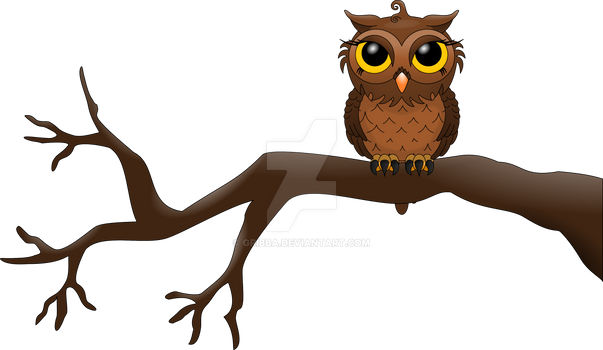 Brown owl on a tree