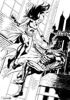 Batman vs Kitsune BW
