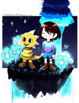 Frisk and Monster kid in Waterfall