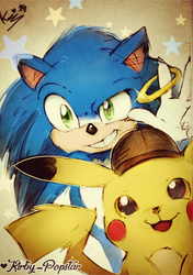 Movie sonic and Detective pikachu by Kirby-Popstar
