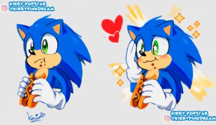 Sonic eating a chilidog