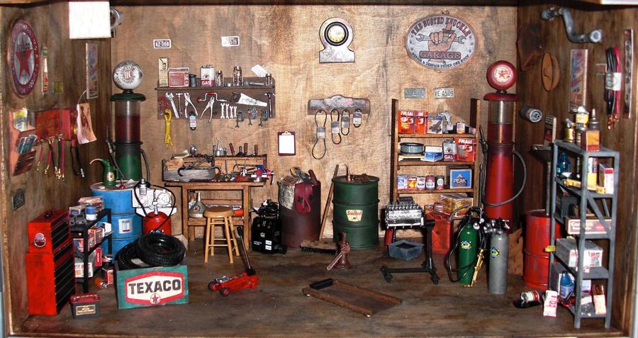 Vintage Service Station Garage : Old garage dollhouse by rowdybiker on deviantart