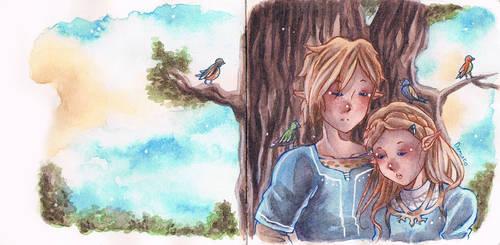 Zelda and Link by Odamako