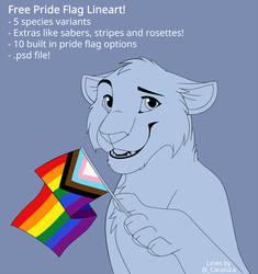 Free Lineart! - Pride Flag Felines! .psd