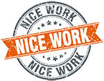 Nice-work-round-orange-grungy-vintage-isolated-vec by Fiendcute