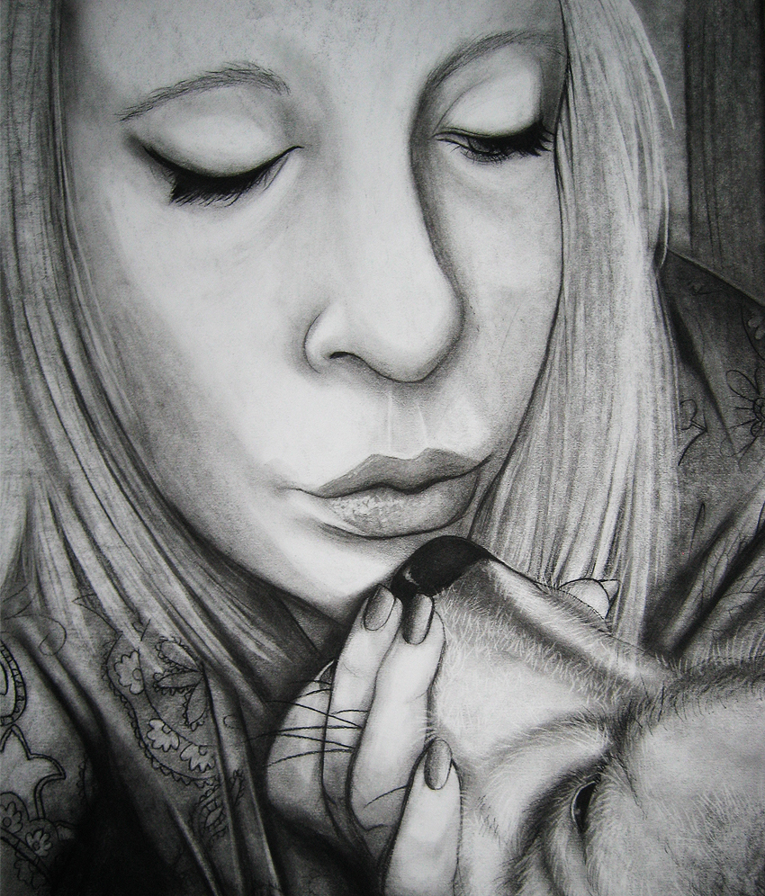 Drawing bw self portrait 2 by setsuna22
