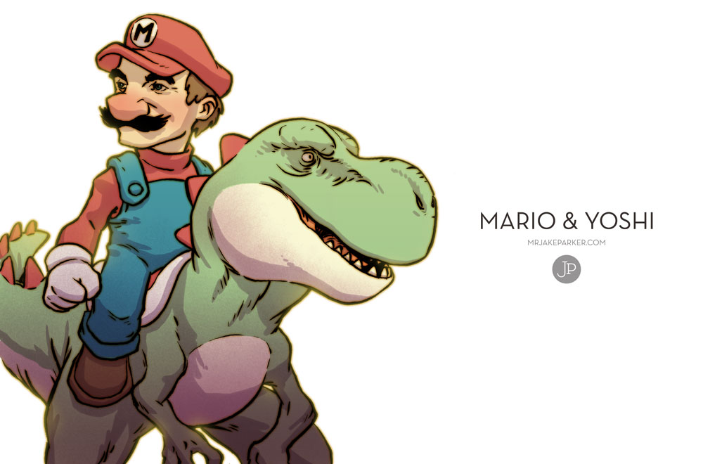 Realistic Yoshi Mario and Yoshi by JakeParker