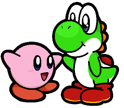 Kirby n' Yoshi by silvermonochrome
