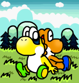 Yellow and Orange Yoshi by silvermonochrome
