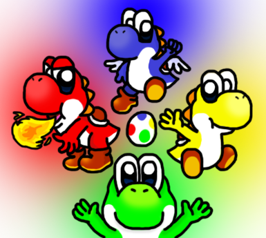 Super Mario World Yoshies by silvermonochrome