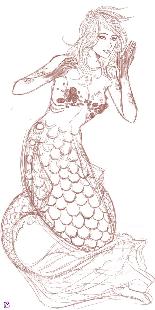 Mermaid WIP by Maliemokono