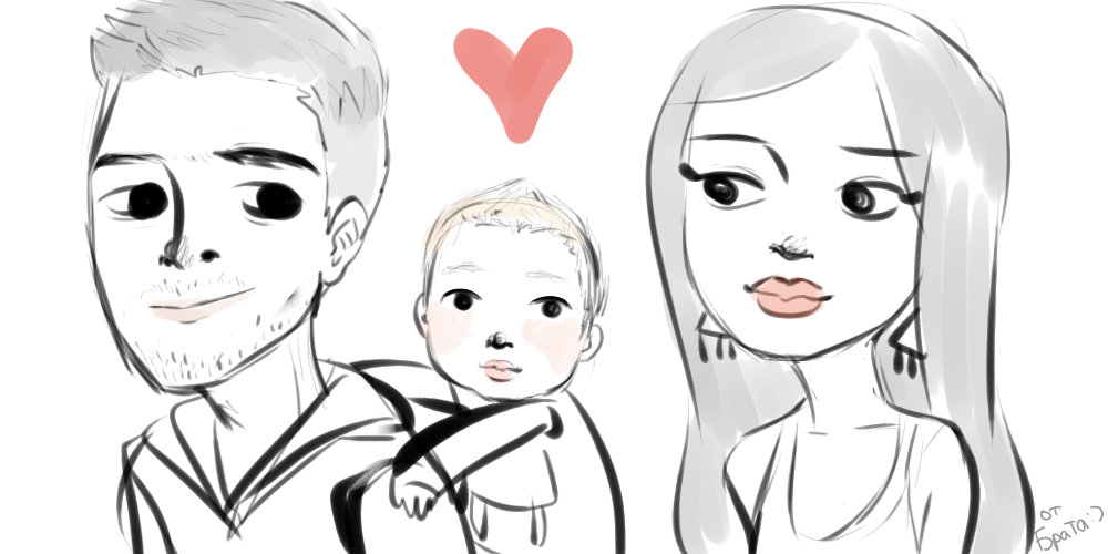 Family caricature by Maliemokono