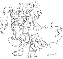 Commission Sabrina x Anubius -Lineart- by Kell0x