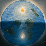 Flat Earth with Large Sun and Moon