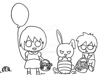2019 Easter children and bunny black and white