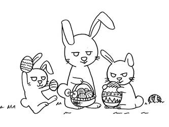 2019 Easter bunnies drawing black and white