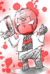 Funny chibi Red Hood, with middle finger by DarkChildRed