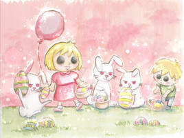 Easter Egg Hunt with Easter Bunnies