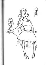 Inktober 2018: Jellyfish witch by xFeajix