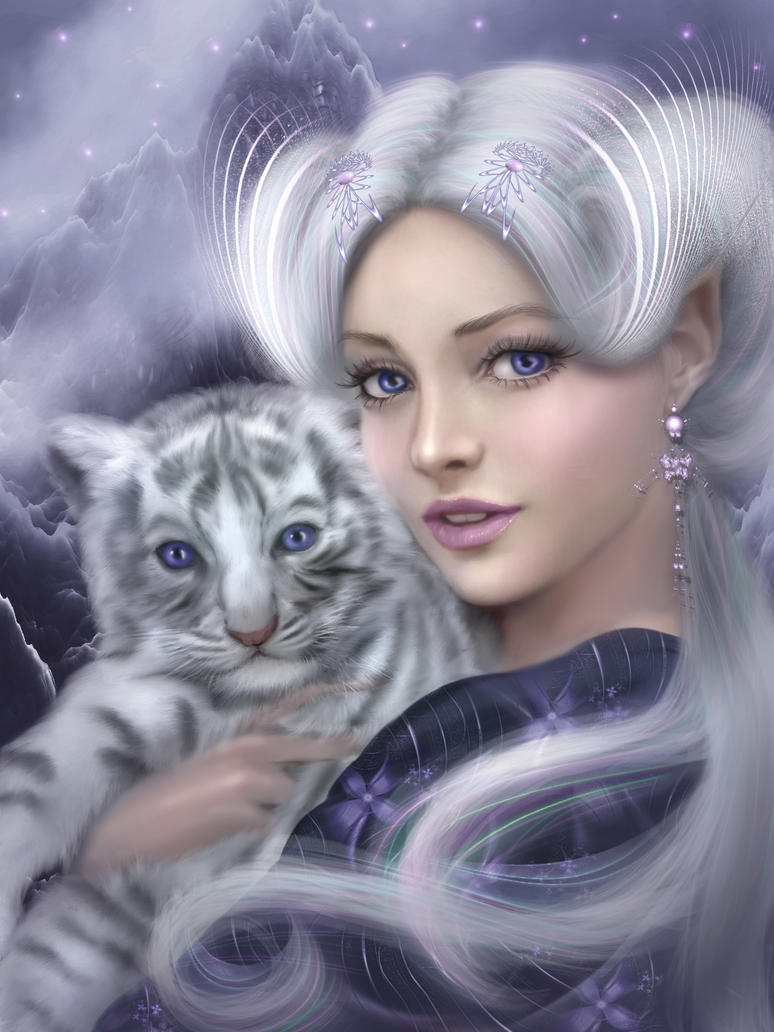Fantasy Digital Paintings Legend of the White Tiger by mari-na