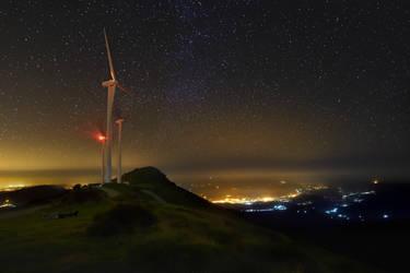 Mount Oiz Night Shot by Marrazki