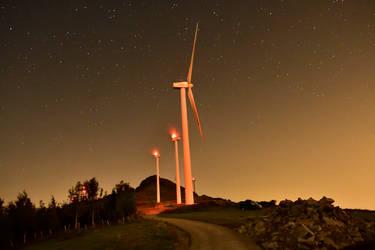Oiz Windmills at Night by Marrazki