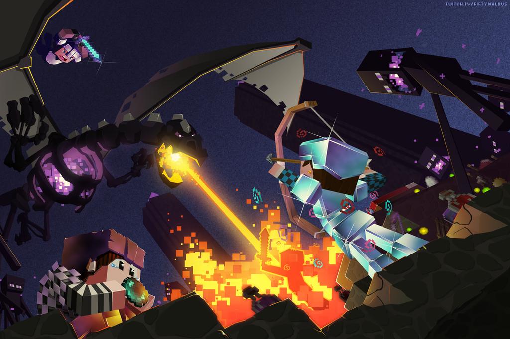 Epic Nether Dragon Battle
