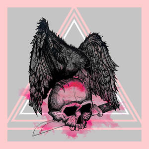 Crow On Skull Pink by fidelitous