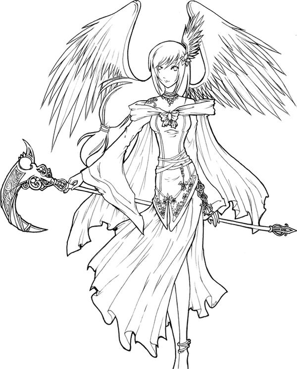 Angel Face Line Drawing : Angel of death lineart by xxkawaiitwiggee on deviantart
