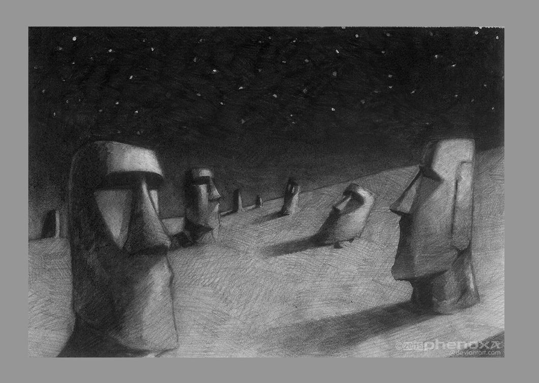 Easter Island Drawing by phenoxa