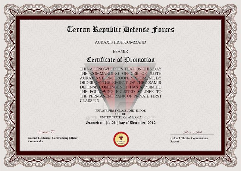 Terran Republic Certificate Of Promotion By Wlad77 On Deviantart