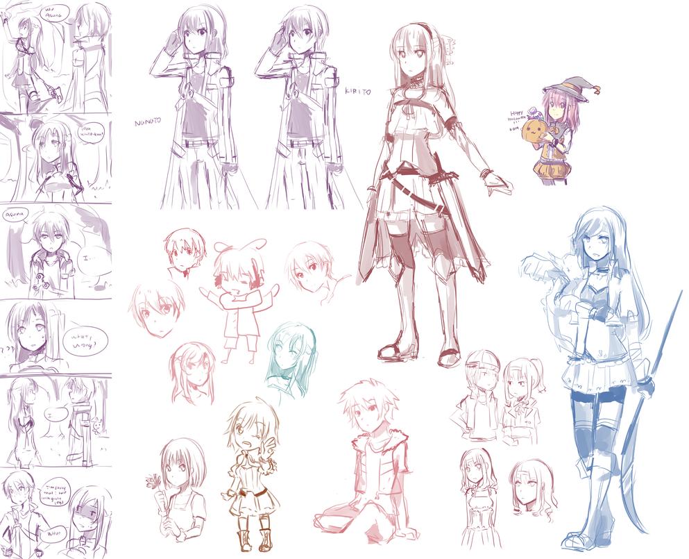 Doodle Dump - Sword Art Online, DoN, UTAU, etc by cakerolls