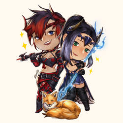 [Commission] FF14 - Couple Chibi with a fox!