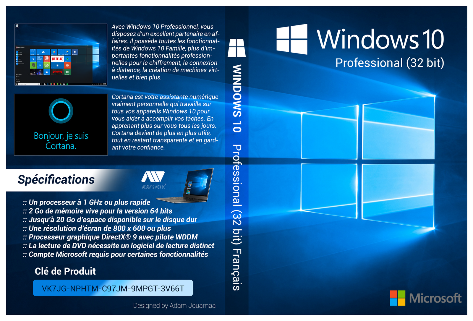Windows 10 Pro 32 bit Francais Cover DVD HD by adamjouamaa