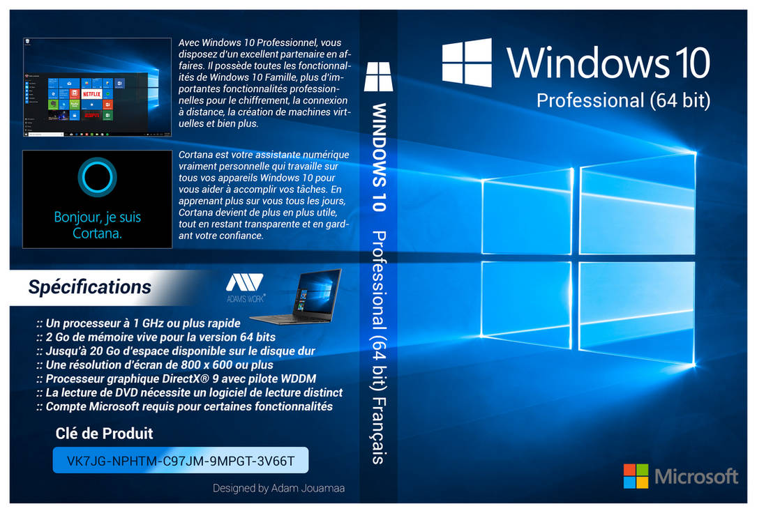 windows 10 pro 64 bit francais cover dvd hd by adamjouamaa