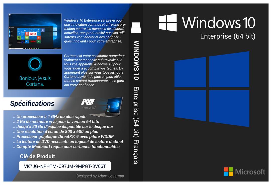 Windows 10 enterprise 64 bit cover dvd hd by adamjouamaa for Window 64 bit