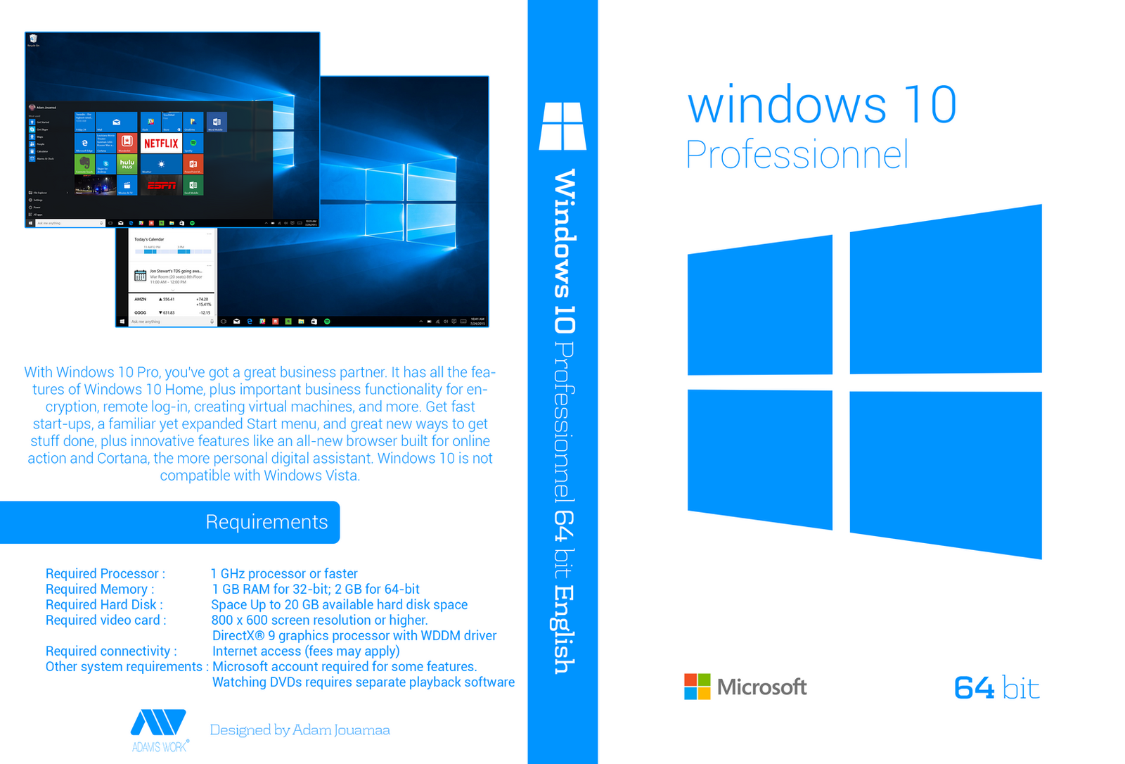 Windows 10 Professionnel 64 Bit English Dvd Cover By
