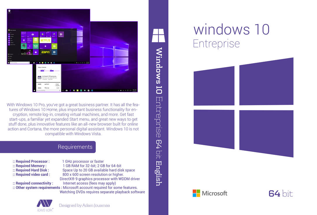 Windows 10 Entreprise 64 bit English Dvd Cover HD by adamjouamaa on