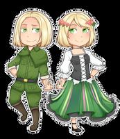 Poland and Nyo!Poland Chibi by Annington