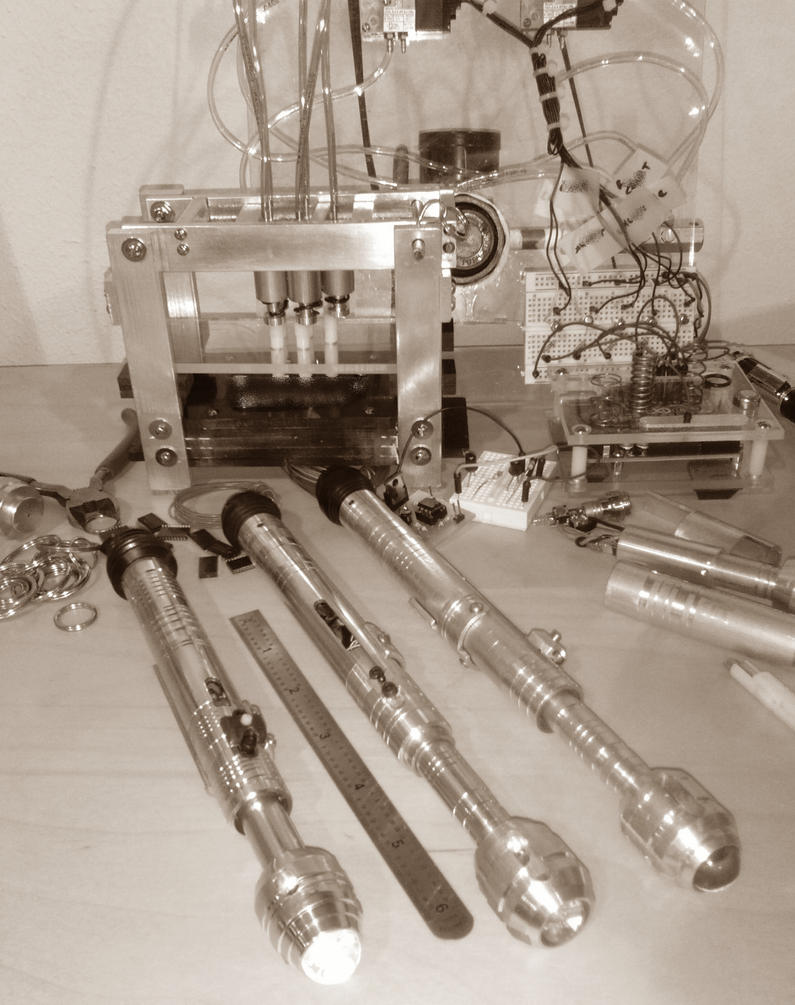 Mad scientist and Sonic Screwdrivers - sepia by vadeblade