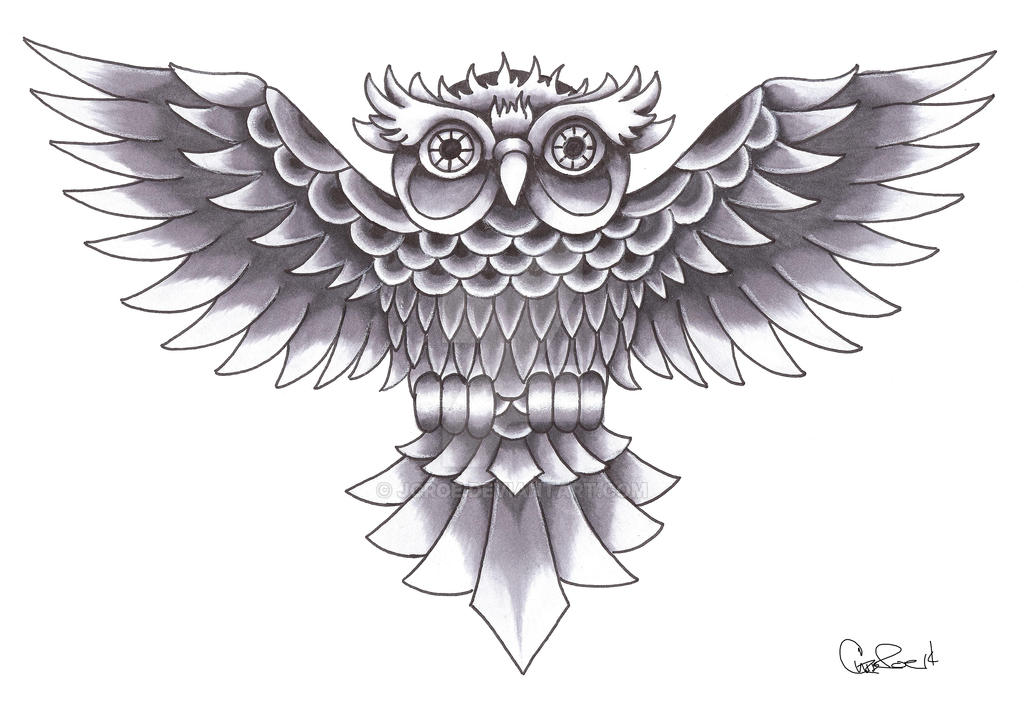 old school owl tattoo design by jcroe on deviantart. Black Bedroom Furniture Sets. Home Design Ideas