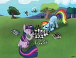 Twilight and Rainbow Dash play Chess