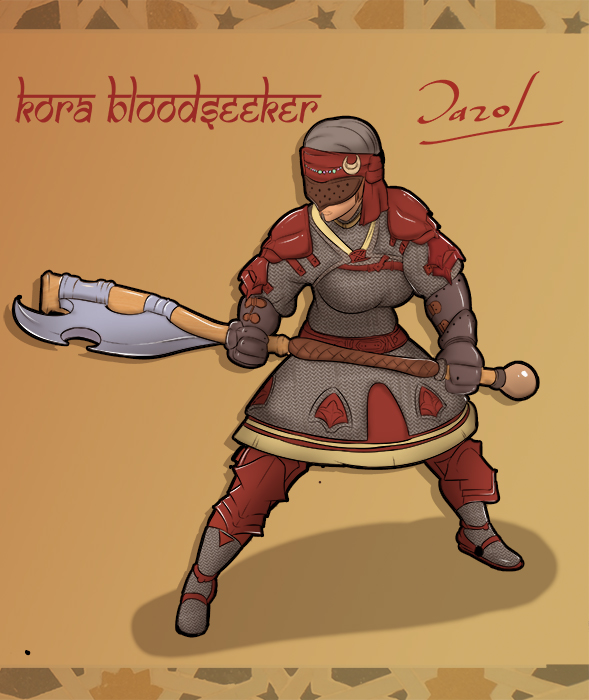 Commission: Kora Bloodseeker! character sheet by Dazol1