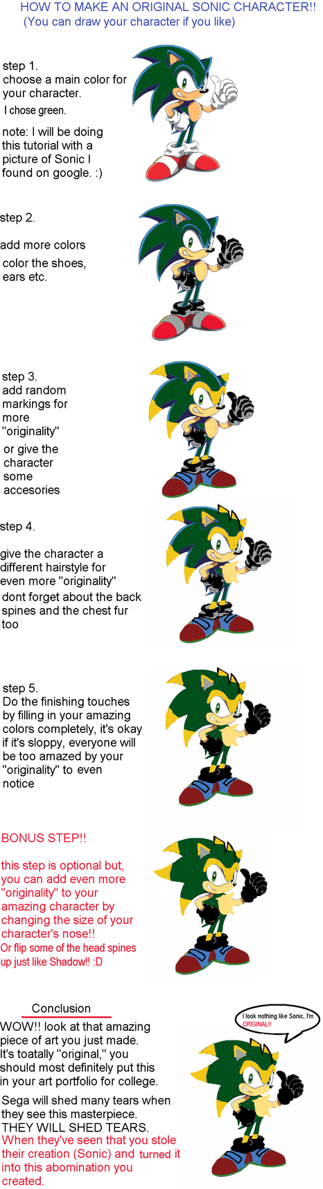 HOW TO MAKE A SONIC CHARACTER by JonathanTheSmex