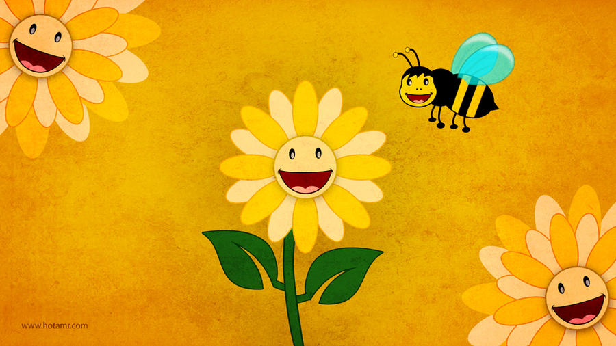 Smile Flower and the Bee by hotamr
